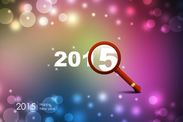 2015 happy new year through magnifier
