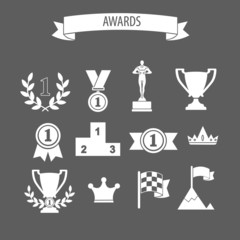 set of white vector award success and victory icons with trophie