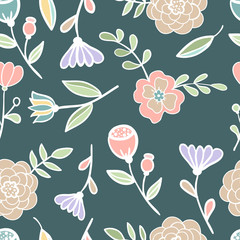 Seamless floral colorful pattern Vector illustration stained