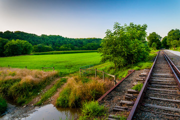 Farm and creek along railroad tracks in Southern York County, PA
