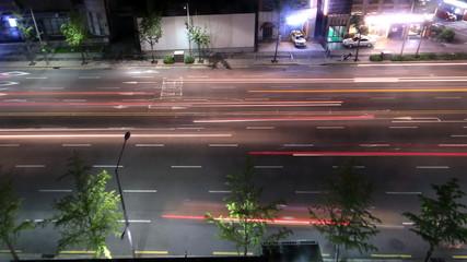 Time lapse Bird view of Night traffic