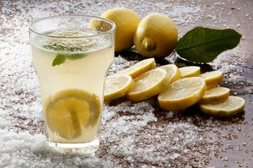 lemonade lemon slices and salt