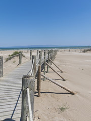 Walkway on the beach. Ebro River Delta.