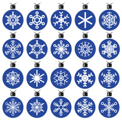 snowflakes and Christmas decorations