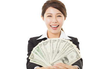 excited young business woman showing money