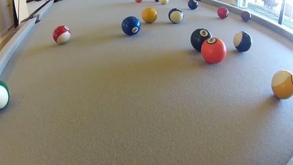 HD clip of a billiard ball triangle during the break shot