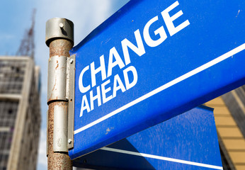 Change Ahead blue road sign