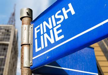 Finish Line blue road sign