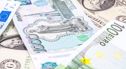 close-up shots in macro lens money euro, dollar, ruble  banknote