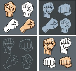 Fists - vector set. Stock illustration.