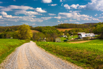 Farm fields along a dirt road in rural York County, Pennsylvania