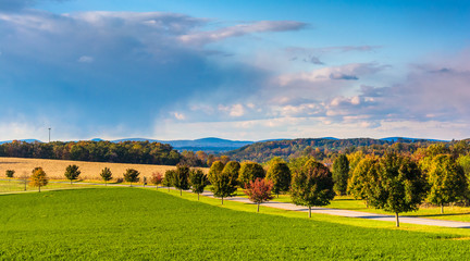Farm fields and country road in rural York County, Pennsylvania.