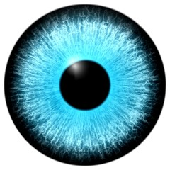 Illustration of a blue eye with light reflection