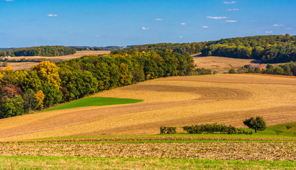 Farm fields and rolling hills in rural Southern York County, Pen