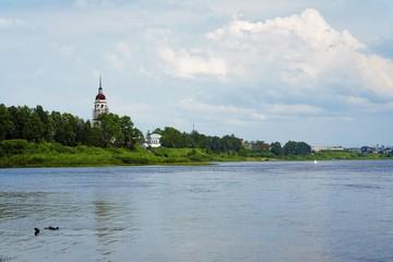 The shore of the Sukhona River in Totma, Russia
