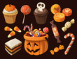 Set of colorful halloween sweets and candies icons - 75075521