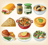 Collection of traditional french dinner meals - 75075547