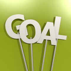 Goal word on green background