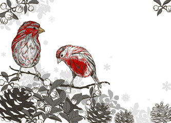 Christmas hand drawn background for xmas design with winter bird