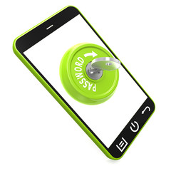 Green password key on smartphone