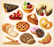 Set of pies and flour products from bakery or pastry shop - 75076546