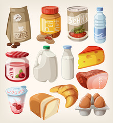 Collection of food and products that we buy or eat every day.