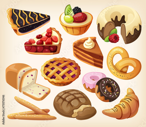 Fototapeta Set of pies and flour products from bakery or pastry shop