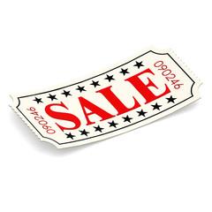Sale ticket on white background