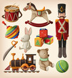 Set of colorful vintage christmas toys for kids. - 75076912