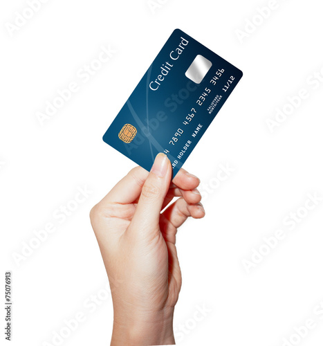 hand holding credit card - 75076913