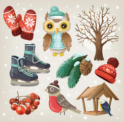 Set of christmas winter items and elements