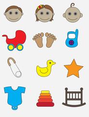 Baby icon set, art vector illustration