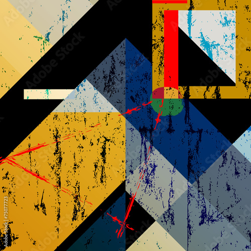 abstract colorful geometric background, with squares, triangle a - 75077723