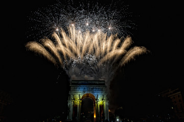 Happy new year and merry xmas fireworks on triumph arc