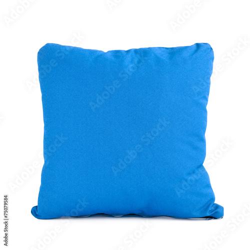 Blue cushion isolated on white background - 75079584