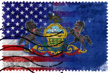USA and Pennsylvania State Flag - old postage stamp