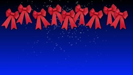 fiocchi natalizi su sfondo blu gradiente