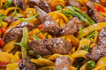 Egg noodle with chicken liver