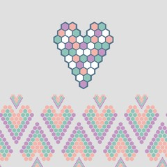 multicolored mosaic heart with linear ornament greeting card