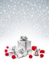 Celebration gifts on snow background