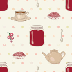 jam and tea seamless pattern