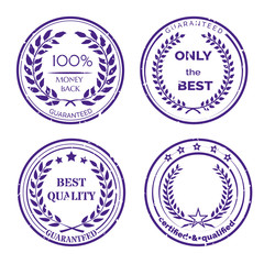 Circular Guarantee Label Set on White Background