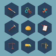 Construction and real estate icon set, vector