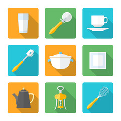 vector various flat design dinnerware tableware utensil icons