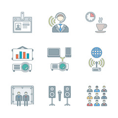 vector outline conference presentation icons set