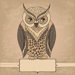 Card with abstract owl