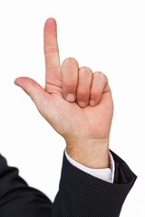 Hand of a businessman pointing