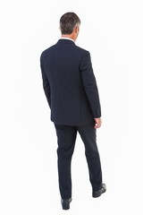 Rear view of a businessman posing