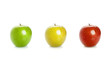 Green, yellow and red apples isolated on white background