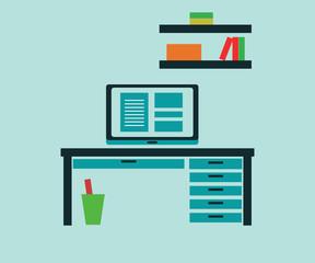 Flat design vector illustration of workstation. Computer desk